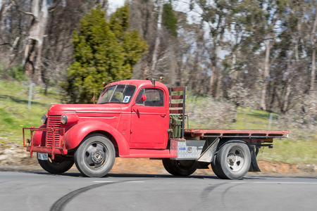 Adelaide, Australia - September 25, 2016: Vintage 1939 Chevrolet VB Truck driving on country roads near the town of Birdwood, South Australia.