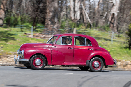 morris: Adelaide, Australia - September 25, 2016: Vintage 1951 Morris Oxford Saloon driving on country roads near the town of Birdwood, South Australia. Editorial