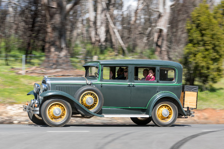 Adelaide, Australia - September 25, 2016: Vintage 1930 Buick 8 Sedan driving on country roads near the town of Birdwood, South Australia. Editorial