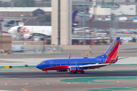 San Diego, California, USA - April 30, 2013. Southwest Airlines Boeing 737-7H4 N477WN arriving at San Diego International Airport. Editorial