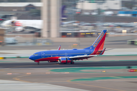 San Diego, California, USA - April 30, 2013. Southwest Airlines Boeing 737-7H4 N734SA arriving at San Diego International Airport.