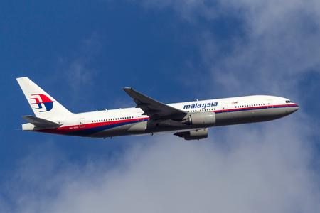 Melbourne, Australia - September 20, 2011: Malaysia Airlines Boeing 777-2H6ER 9M-MRK departing Melbourne International Airport.