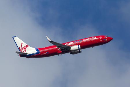 Melbourne, Australia - September 24, 2011: Virgin Blue Airlines Boeing 737-8FE VH-VUS departing Melbourne International Airport.