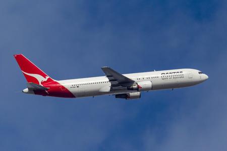 Melbourne, Australia - September 24, 2011: Qantas Boeing 767-338ER VH-OGO departing Melbourne International Airport.