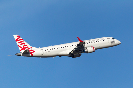 Melbourne, Australia - September 24, 2011: Virgin Australia Airlines Embraer ERJ-190-100IGW (ERJ-190) VH-ZPT departing Melbourne International Airport.