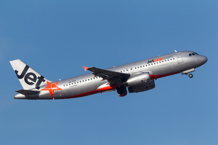 Melbourne, Australia - September 24, 2011: Low cost Airline Jetstar Airways Airbus A320-232 VH-VQY departing Melbourne International Airport. Editorial