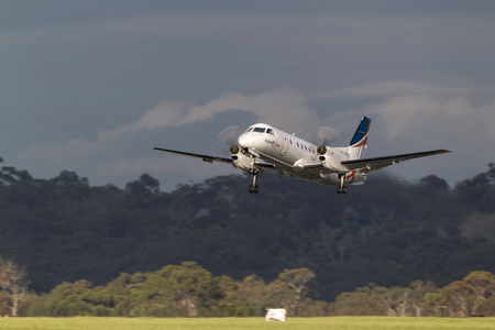 Melbourne, Australia - November 10, 2011: Regional Express (REX) Airlines Saab 340B VH-ZRC taking off from Melbourne International Airport.