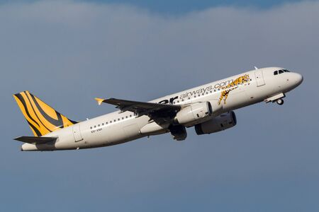 Melbourne, Australia - September 24, 2011: Low cost airline Tiger Airways Airbus A320-232 VH-VNH departing Melbourne International Airport. Editorial