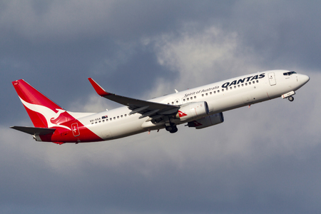 Melbourne, Australia - September 24, 2011: Qantas Boeing 737-838 VH-VXA departing Melbourne International Airport.