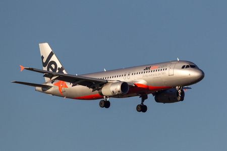 Melbourne, Australia - September 25, 2011: Jetstar Airways Airbus A320-232 VH-VQH on approach to land at Melbourne International Airport.