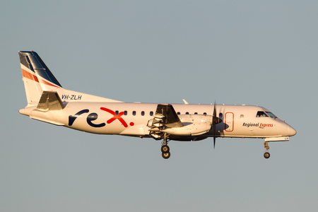Melbourne, Australia - November 10, 2011: Regional Express (REX) Airlines Saab 340B VH-ZLH on approach to land at Melbourne International Airport. Editorial