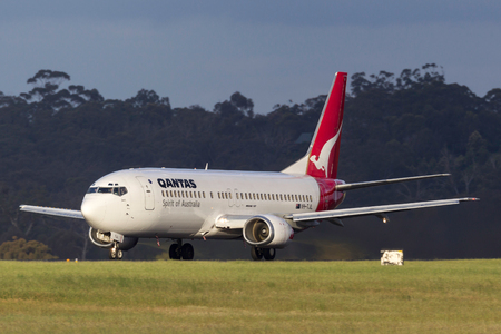 Melbourne, Australia - November 10, 2011: Qantas Boeing 737-476 VH-TJL on the runway at  Melbourne International Airport. Editorial