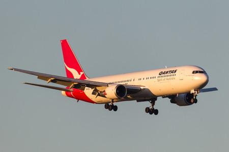 Melbourne, Australia - September 28, 2011: Qantas Boeing 767-338ER VH-OGI on approach to land at Melbourne International Airport. Editorial