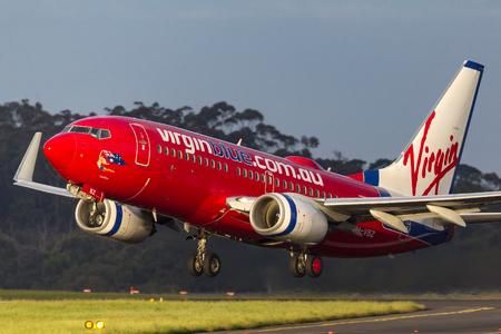 Melbourne, Australia - September 25, 2011: Virgin Australia Airlines Boeing 737-7FE VH-VBZ  taking off from  Melbourne International Airport. Editorial