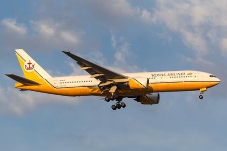 Melbourne, Australia - September 28, 2011: Royal Brunei Airlines Boeing 777-212ER V8-BLA on approach to land at Melbourne International Airport.
