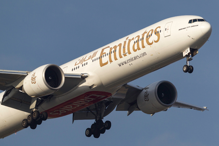 Melbourne, Australia - September 28, 2011: Emirates Boeing 777-31HER A6-ECS on approach to land at Melbourne International Airport.