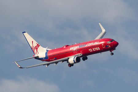 Melbourne, Australia - September 24, 2011: Virgin Blue Airlines Boeing 737-8FE VH-VON on approach to land at Melbourne International Airport.