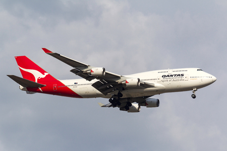 Melbourne, Australia - September 28, 2011: Qantas Boeing 747-438ER VH-OEH on approach to land at Melbourne International Airport.