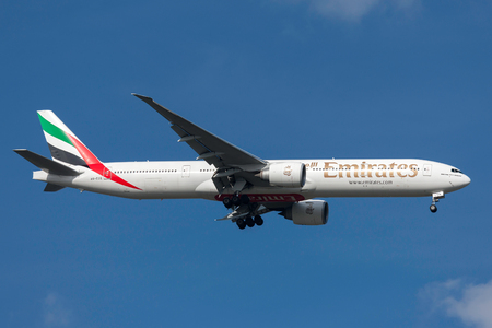Melbourne, Australia - September 28, 2011: Emirates Boeing 777-31HER A6-ECE on approach to land at Melbourne International Airport. Editorial