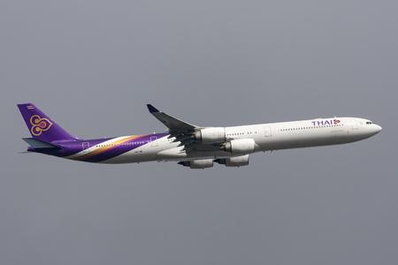Melbourne, Australia - September 25, 2011: Thai Airways International Airbus A340-642 HS-TNB departing Melbourne International Airport.