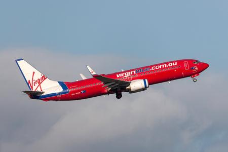 Melbourne, Australia - September 24, 2011: Virgin Blue Airlines Boeing 737-8FE VH-VOT departing Melbourne International Airport. Editorial
