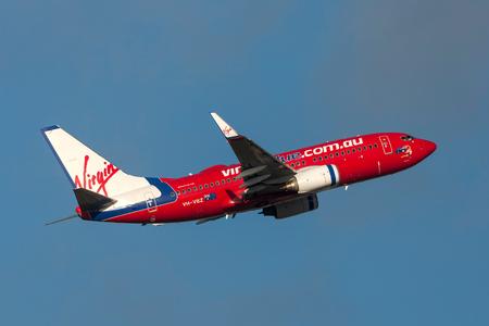 Melbourne, Australia - September 24, 2011: Virgin Blue Airlines Boeing 737-7FE VH-VBZ departing Melbourne International Airport.