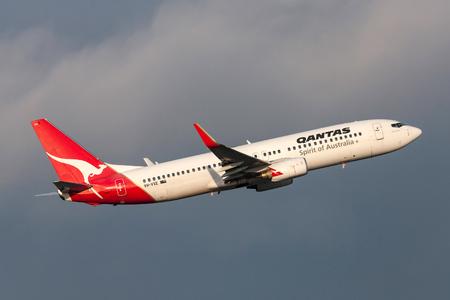 Melbourne, Australia - September 25, 2011: Qantas Boeing 737-838 VH-VXE departing Melbourne International Airport. Editorial