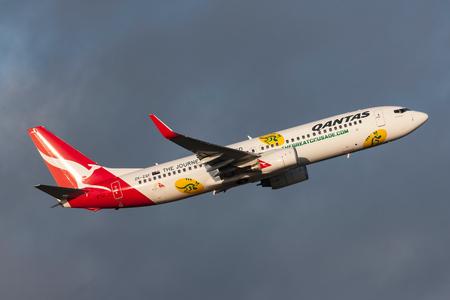 Melbourne, Australia - September 24, 2011: Qantas (Jetconnect New Zealand) Boeing 737-838 ZK-ZQF  departing Melbourne International Airport.