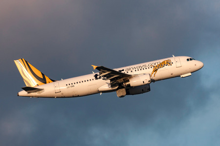 Melbourne, Australia - September 24, 2011: Low cost airline Tiger Airways Airbus A320-232 VH-VNK departing Melbourne International Airport.