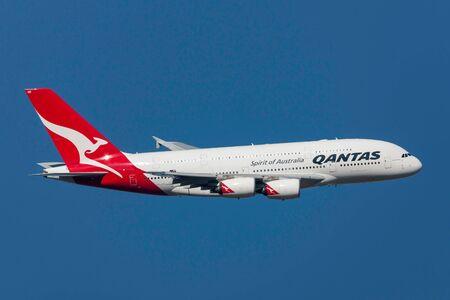 Melbourne, Australia - September 24, 2011: Qantas Airbus A380-842 VH-OQD departing Melbourne International Airport.