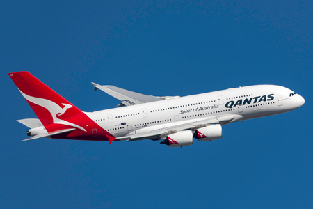 Melbourne, Australia - September 24, 2011: Qantas Airbus A380-842 VH-OQD departing Melbourne International Airport.