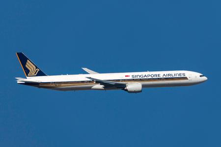 Melbourne, Australia - November 10, 2011: Singapore Airlines Boeing 777-312 9V-SYF departing Melbourne International Airport.
