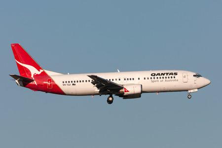 Melbourne, Australia - September 25, 2011: Qantas Boeing 737-476 VH-TJJ on approach to land at Melbourne International Airport. Editorial