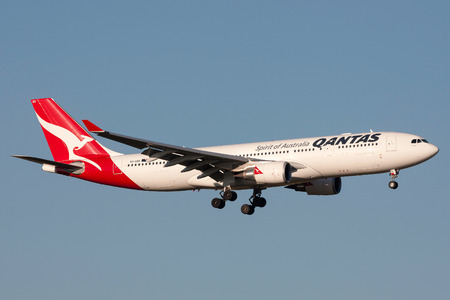 Melbourne, Australia - September 25, 2011: Qantas Airbus A330-202 VH-EBO on approach to land at Melbourne International Airport.