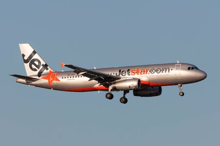 Melbourne, Australia - September 25, 2011: Jetstar Airways Airbus A320-232 VH-VGF on approach to land at Melbourne International Airport.