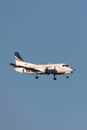 Melbourne, Australia - November 10, 2011: Regional Express (REX) Airlines Saab 340B VH-RXS on approach to land at Melbourne International Airport.