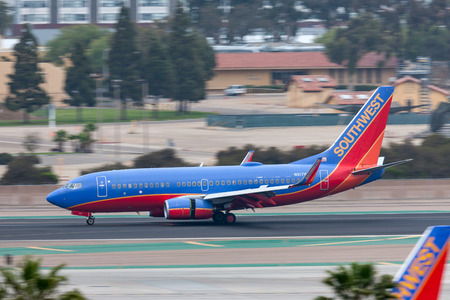 San Diego, California, USA - April 30, 2013. Southwest Airlines Boeing 737-7H4 N917WN arriving at San Diego International Airport.