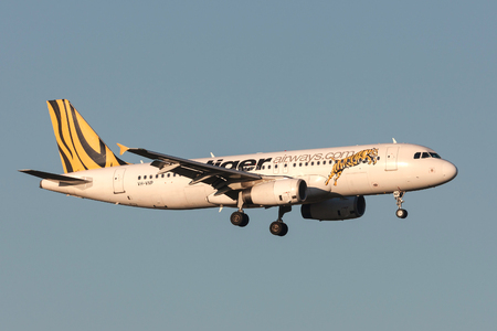 Melbourne, Australia - September 24, 2011: Low cost airline Tiger Airways Airbus A320-232 VH-VNP on approach to land at Melbourne International Airport.