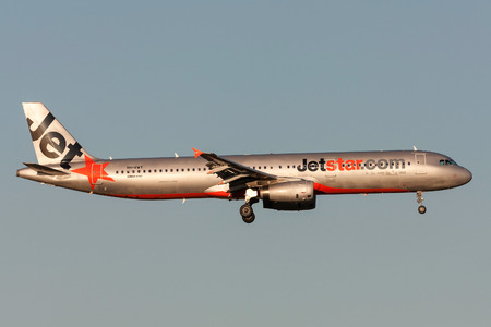 Melbourne, Australia - September 25, 2011: Jetstar Airways Airbus A321-231 VH-VWT on approach to land at Melbourne International Airport.