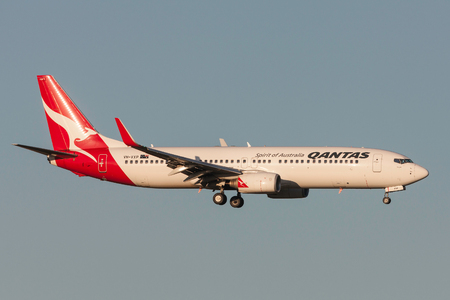 Melbourne, Australia - September 25, 2011: Qantas Boeing 737-838 VH-VXP on approach to land at Melbourne International Airport. Editorial