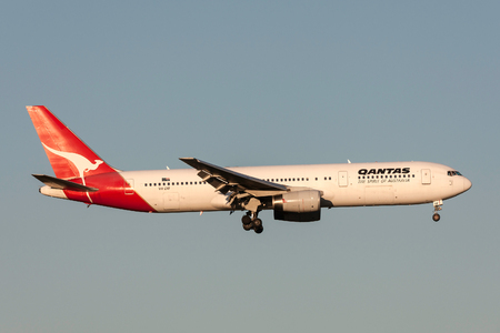Melbourne, Australia - November 10, 2011: Qantas Boeing 767-336ER VH-ZXF on approach to land at Melbourne International Airport.