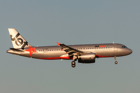 Melbourne, Australia - September 25, 2011: Jetstar Airways Airbus A320-232 VH-VQP on approach to land at Melbourne International Airport. Editorial