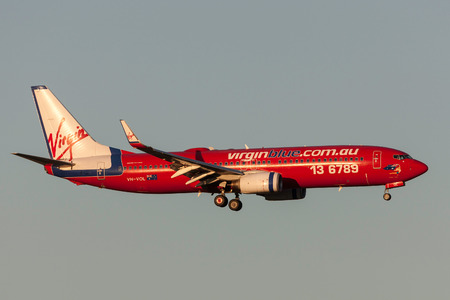 Melbourne, Australia - September 24, 2011: Virgin Blue Airlines Boeing 737-8FE VH-VOL on approach to land at Melbourne International Airport.