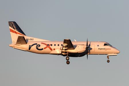 Melbourne, Australia - November 10, 2011: Regional Express (REX) Airlines Saab 340B VH-EKX on approach to land at Melbourne International Airport.