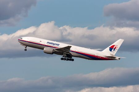 Melbourne, Australia - September 26, 2011: Malaysia Airlines Boeing 777-2H6ER 9M-MRI departing Melbourne International Airport. Editorial