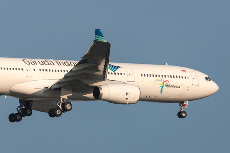 Melbourne, Australia - September 28, 2011: Garuda Indonesia Airbus A330-341 PK-GPE on approach to land at Melbourne International Airport. Editorial
