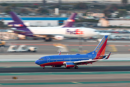 San Diego, California, USA - April 30, 2013. Southwest Airlines Boeing 737-7H4 N723SW arriving at San Diego International Airport.
