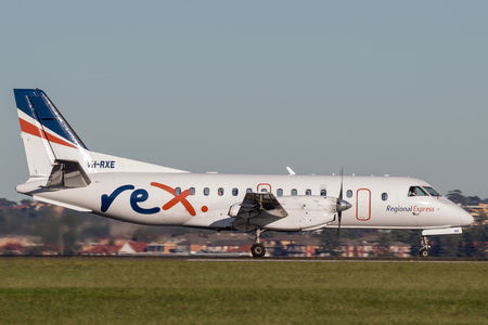 Sydney, Australia - May 5, 2014: REX (Regional Express Airlines) Saab 340 twin engined regional commuter aircraft at Sydney Airport.