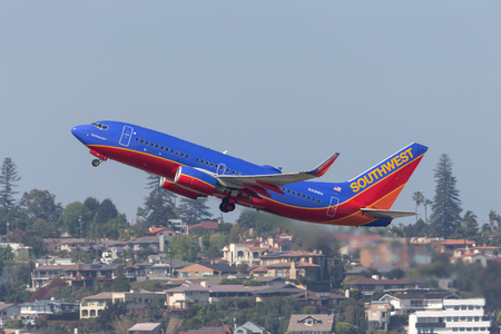 San Diego, California, USA - April 30, 2013. Southwest Airlines Boeing 737-7H4 N416WN departing San Diego International Airport.