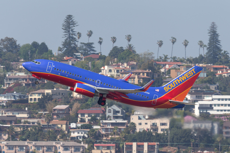 San Diego, California, USA - April 30, 2013. Southwest Airlines Boeing 737-7H4 N795SW departing San Diego International Airport.